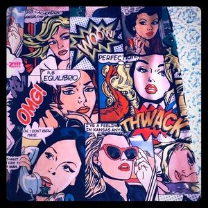 Comic Book print Pencil Skirt, stretch, Sz Small.